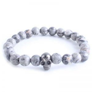 Bratara cu margele si talisman craniu - EVA's