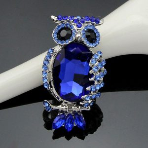 Brosa bufnita albastra cu cristale - EVA's