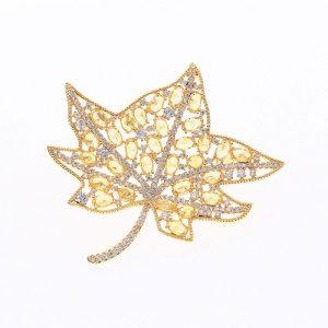 Brosa frunza de artar aurie cu cristale si pietre - EVA's