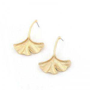 Cercei aurii lungi in forma de frunza ginkgo - EVA's