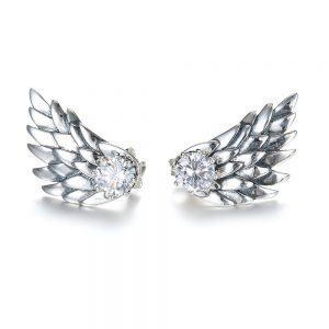Cercei argintii in forma de aripi de inger decorati cu piatra stralucitoare - EVA's