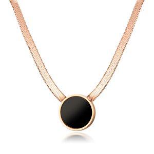 Colier auriu cu medalion negru - EVA's