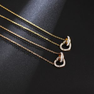 Colier auriu cu pandantiv inima si cerc - EVA's
