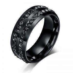 Inel de barbati din titan negru decorat cu pietre negre - EVA's
