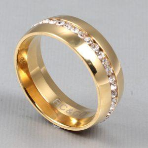 Inel auriu decorat cu o dunga de pietre stralucitoare - EVA's