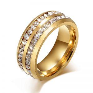 Inel auriu decorat cu doua randuri de pietre stralucitorare - EVA's