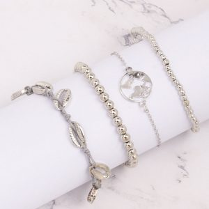 Set de bratari argintii cu talismane - EVA's
