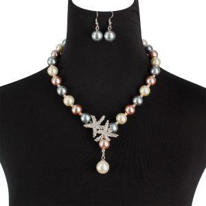 Set din perle cu colier si cercei - EVA's